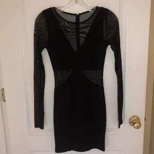 Cut out Sheer black mini dress